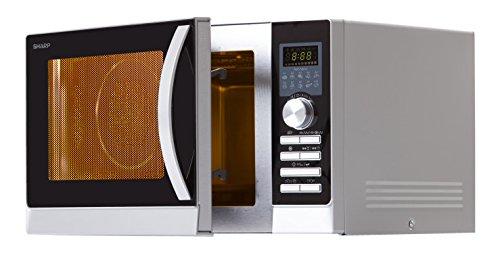 Sharp R843INW 3-in-1 Mikrowelle mit Grill und Heißluft, 25 L, Express Pizza Programm, silber / schwarz