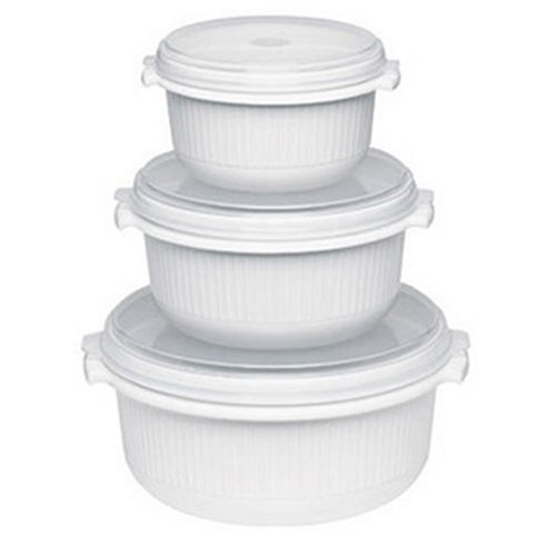 Emsa 459061200 3-teiliges Mikrowellentopf-Set, 0,5 Liter, 1 Liter, 1,5 Liter, Kunststoff, Weiß, Micro Family