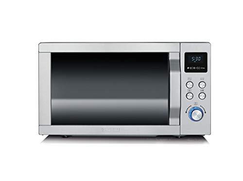 SEVERIN MW 7754 3-in-1 Mikrowelle (900 W, mit Grill- und Ultra-Heißluftfunktion, Inkl. Drehteller, Grillrost und Pizza-Teller) edelstahl/schwarz